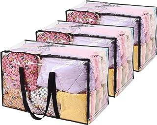 Vieshful 3 Paquetes Bolsas de Almacenamiento Transparentes 110L Sobredimensionado Bolsas de Ropa con Cremalleras Dobles Ma...