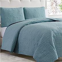 Mellanni Bedspread Coverlet Set Spa-Blue - Bedding Cover - Oversized 3-Piece Quilt Set (King, Spa Blue)
