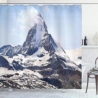 Farmhouse Decor Shower Curtain, Matterhorn Summit with Cloud Mountain Scenery Glacier Natural Beauty, Fabric Bathroom Deco...