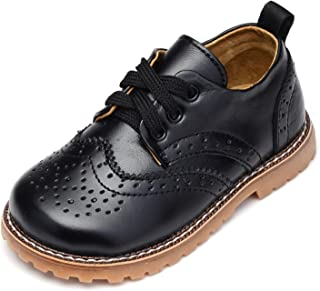 UBELLA Toddler Boys Girls Breathable Hollow Leather Lace Up Flats Oxfords Dress Shoes