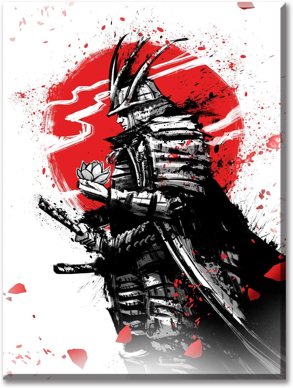 New mail order Samurai Wall Art Japanese Warrior Denver Mall Poster Figure Black White and