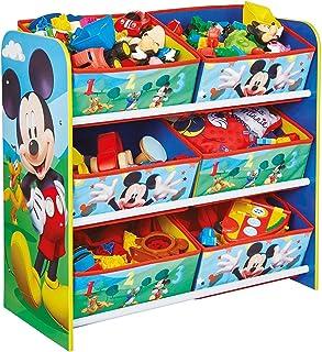 PEGANE Meuble de Rangement Enfant avec 6 bacs Motif Disney Mickey - Dim : H60 x L63,5 x P30 cm