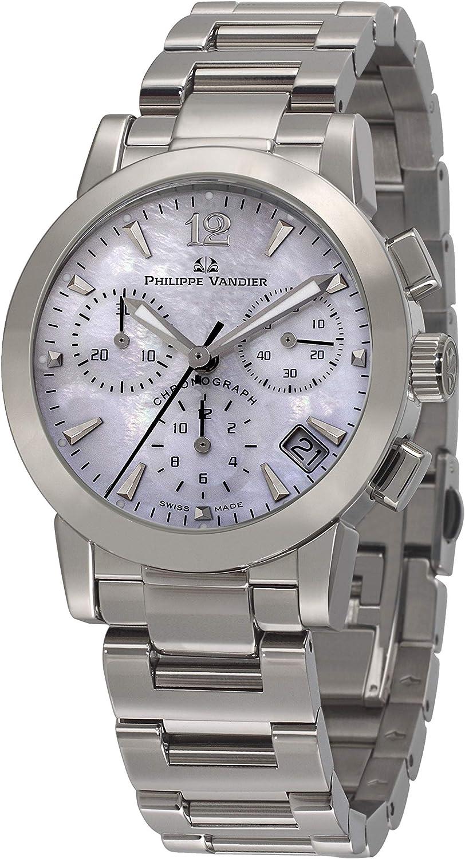 Philippe Vandier Reloj Mujer Swiss Made Olympia Chrono Movimiento Cuarzo Suizo Cronógrafo con Correa de Acero 316L y Cristal Zafiro