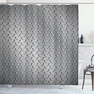 Ambesonne Grey Shower Curtain, Fence Design Netting Display with Diamond Plate Effects Chrome Motif Print Illustration, Cl...