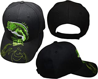 Kiss My Bass Large Mouth Bass Black Fishing Fish Green Embroidered Cap Hat