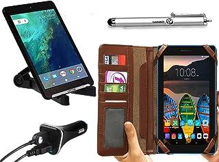 Navitech Housse étui Marron Folio avec Stylet et Stand réglable et hargeur USB Allume pour Lenovo Tab 3 710F Tablette Tact...