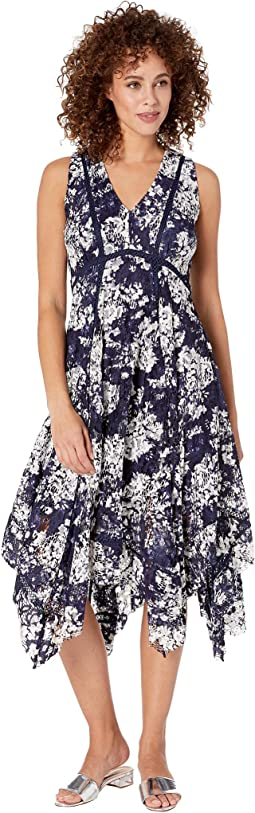 Sleeveless Printed Lace Hankerchief Hem Dress
