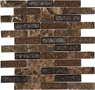 Modket TDH175MO Emperador Dark Brown Marble Stone Mosaic Tile, Crackle Glass Blended Brick Joint Pattern Backsplash