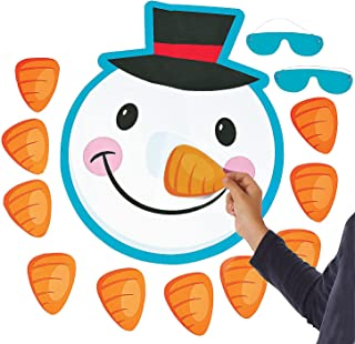 Fun Express - Pin The Nose On The Snowman for Christmas - Toys - Games - Pin The & Bulls Eye Games - Christmas