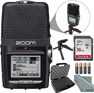 Zoom H2n Portable Handy Digital Audio Recorder Bundle with 16 GB + Case + Batteries + XPIX Tripod + Fibertique Cloth