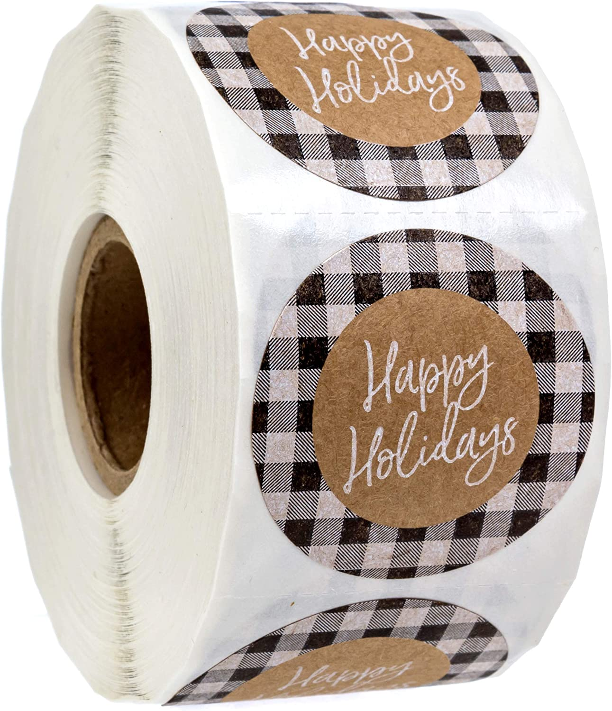 Black and White Buffalo Plaid Happy Holidays Stickers/500 Christmas Tags