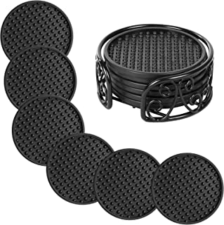 Set of 6 Drink Coasters with Metal Holder, Y&M Drink Coasters - Absorbs Moisture and Prevents Table Damage, Modern Black S...