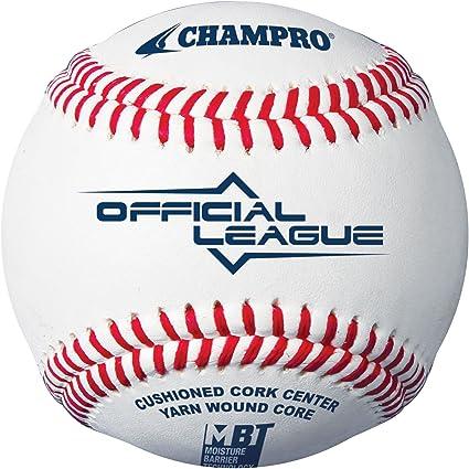 Champro Bola de beisebol oficial da League College (branca, 22,7 cm) (dúzia)