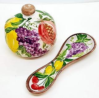 Nascondispugna Porta cucchiaio Linea Frutta mista per Cucina e Bagno Handmade Le Ceramiche del Castello Made in Italy