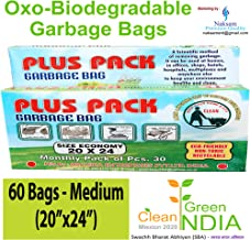 Naksam Garbage Bags Medium Size for Home Biodegradable (20×24 Inches),60 Bags (Black Colour)
