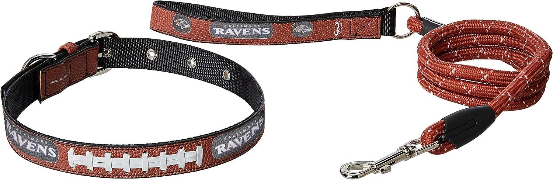 NFL Baltimore Ravens Pebble Grain Football Collar & Leash Gift Pack, Large, Brown
