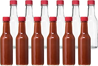 24 Pack - 5 Oz Hot Sauce Bottles, Small Empty Glass Bottles with Red Caps and Drip Dispensing Tops for Salsa, Pepper, Vinegar, Hot Sauce, Pepper Sauce, By California Home Goods