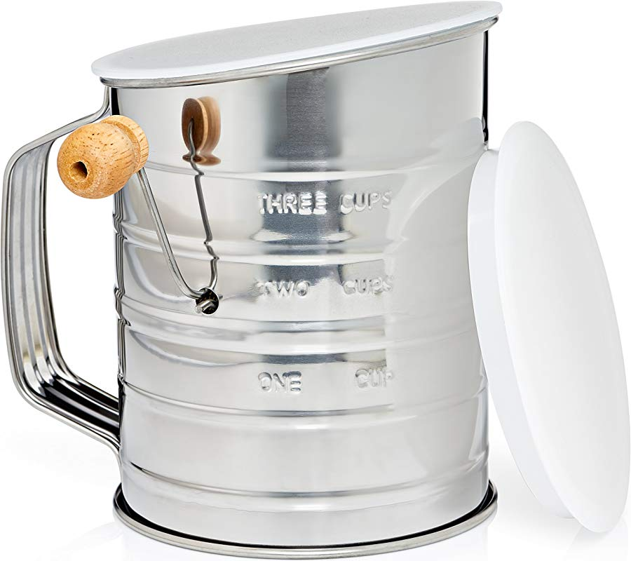 Natizo Stainless Steel 3 Cup Flour Sifter Lid And Bottom Cover No More Mess In Your Kitchen