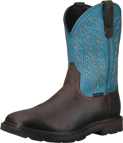 Ariat - Chaussures de Travail Groundbreaker H2O Western Hommes, 44.5 M EU, Dark marron bleu Baltic bleu