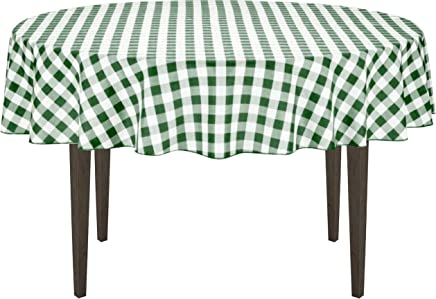 featured product LinenTablecloth 70-Inch Round Polyester Tablecloth Green & White Checker