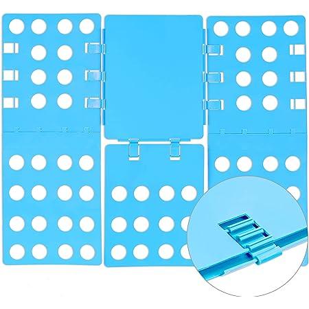 Relaxdays Doblador Ropa Plegable, 4ª Generación, Plegador Camisetas, Camisas, PP, 0,2 x 57 x 68 cm, Azul