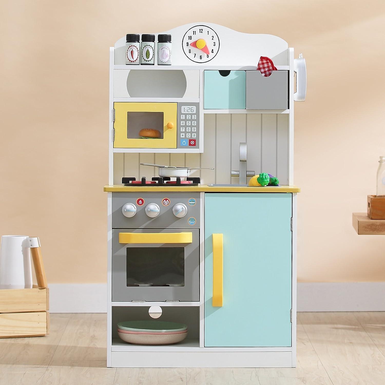 Teamson Kids TD-11708AR Florence Spielküche aus Holz, Wei Grün und Gelb