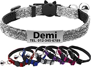 FunTags Reflective Personalized Breakaway Cat Collar with Bell, Safty Buckle, Custom Adjustable Cat ID Collar for Kitty and Puppies