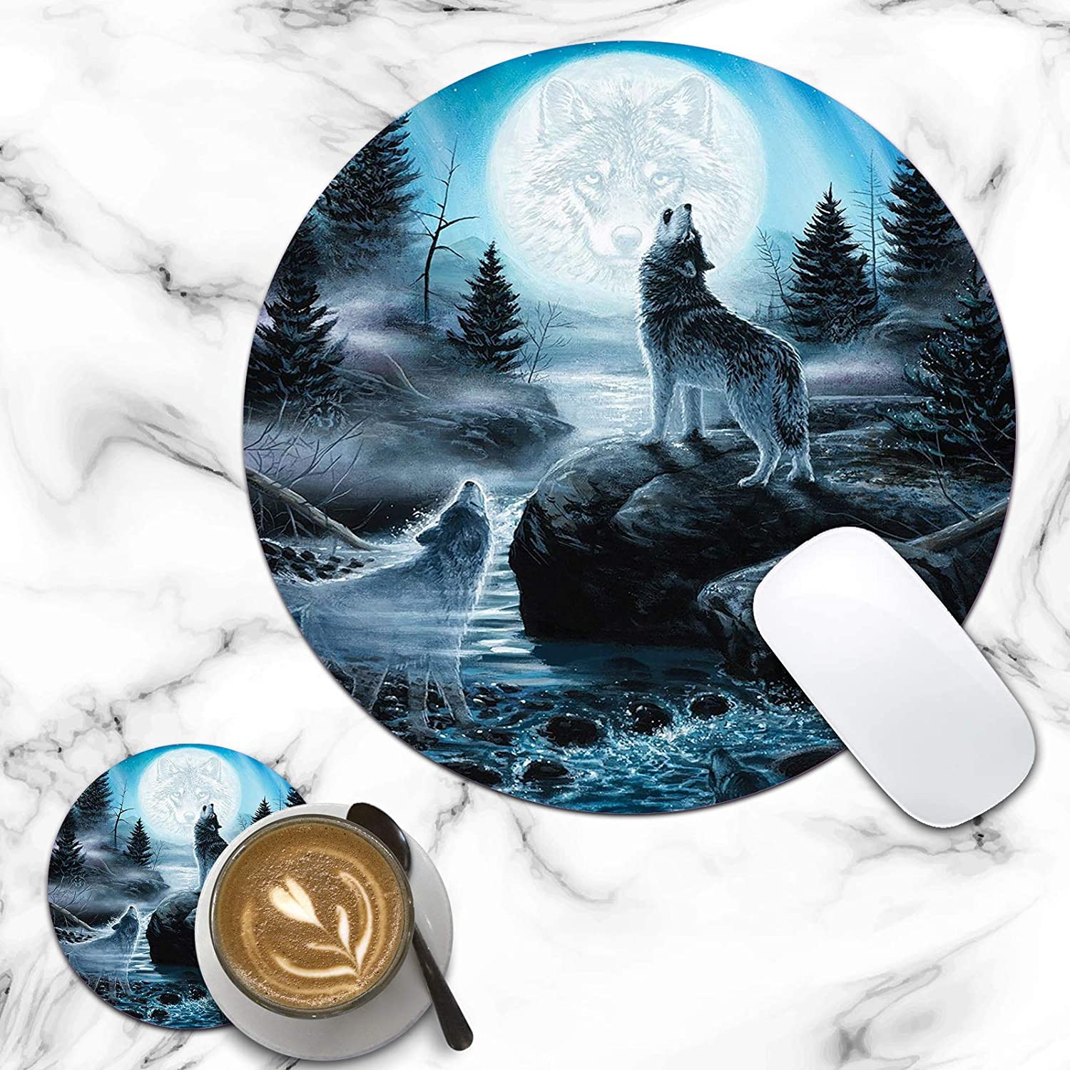 Round Mouse Pad Howling Sale special price Wolf Customized Non-Slip Rubber 2021 Designs