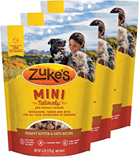 Zuke's Mini Naturals Dog Treats Peanut Butter and Oats 6 oz 3 Pack