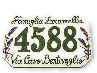 CERAMICHE D'ARTE PARRINI- Ceramica italiana artistica, numero civico in ceramica 20x13 personalizzato, decorazione lavanda...