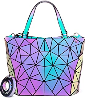 Geometric Luminous Purses and Handbags for Women Holographic Reflective Bag Backpack Wallet Clutch Set