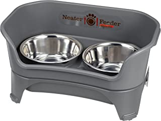Neater Feeder Express (Medium to Large Dog, Gunmetal) - with Stainless Steel, Drip Proof, No Tip and Non Slip Dog Bowls an...