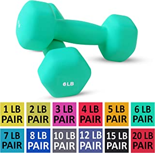 Neoprene Dumbbell Pairs by Day 1 Fitness - 12 WEIGHT OPTIONS, 1 - 20 LBS - Non-Slip, Hexagon Shape, Color Coded, Easy to Read Hand Weights for Muscle Toning, Strength Building, Weight Loss