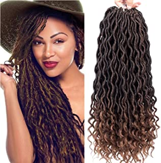 "Curly Faux Locs Crochet Hair Deep Wave Braiding Hair With Curly Ends Crochet Goddess Locs Synthetic Braids Hair Extensions (18""-3bundles, 1B-30)"