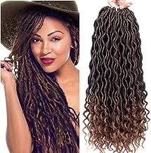 Karida 6Pcs/Lot Curly Faux Locs Crochet Hair Deep Wave Braiding Hair With Curly Ends Crochet Goddess Locs Synthetic Braids Hair Extensions (18inch, T1B/30#)