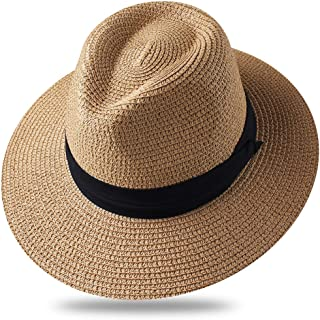 ea45d07875bfc FURTALK Sun Hats for Men Women Wide Brim Havana Jazz Sun Protection Straw  Panama Fedora Beach
