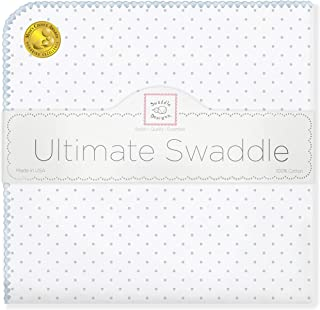 SwaddleDesigns Ultimate Swaddle, X-Large Receiving Blanket, Made in USA Premium Cotton Flannel, Pastel Blue Classic Polka Dots (Mom's Choice Award Winner)