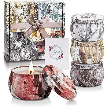 SCENTORINI Bougies Parfum/ées Coffret Cadeau Bougie en Verre Ambr/é Cire de Soja Naturelle Id/éal /à Offrir