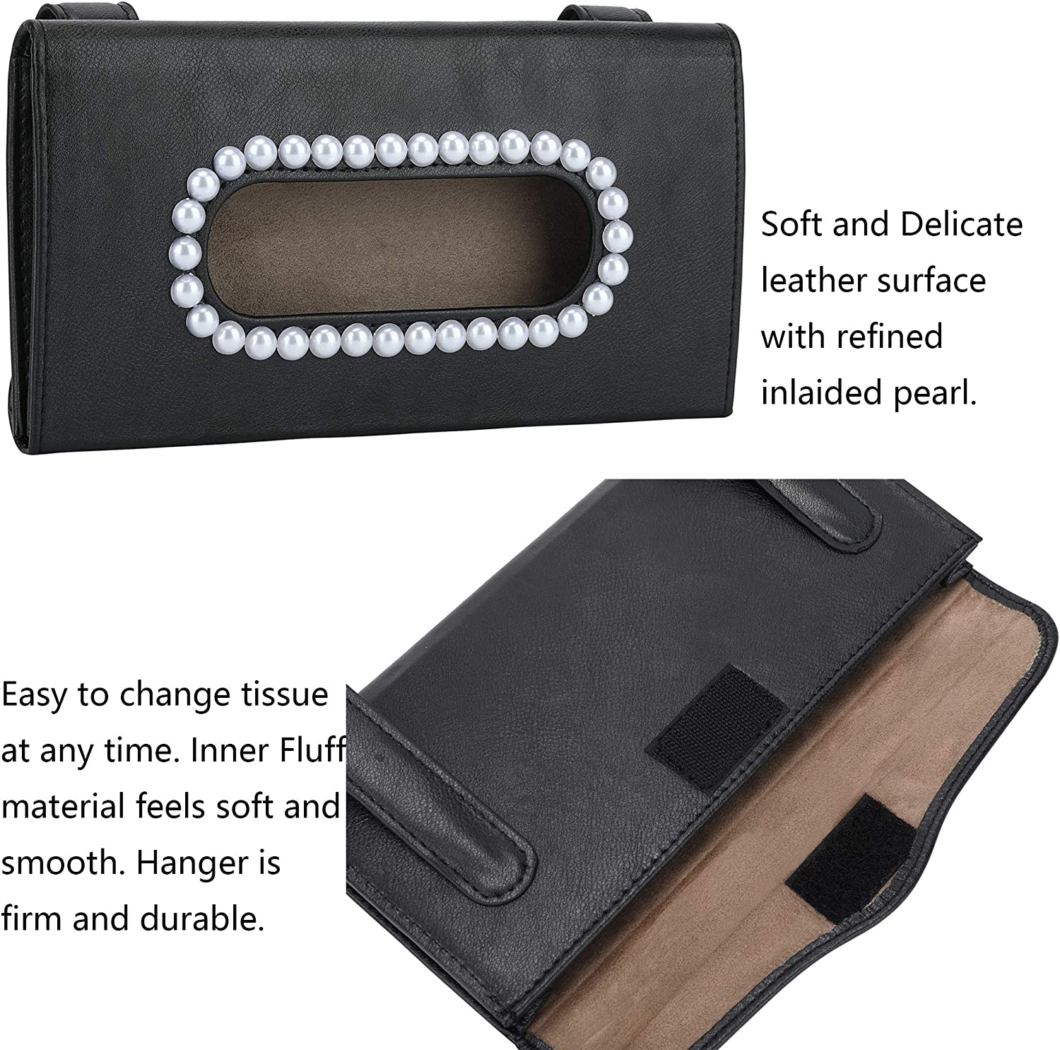 Door Side Nature Fab Leather Pearl Car Tissue Holder Bling Car ...