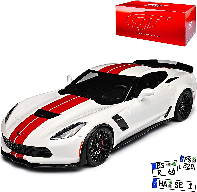 GT Spirit Chevrolet Corvette C7 Z06 Coupe Weiss mit Roten Streifen Ab 2013 Version Ab 2016 Nr 214 1 18 Modell Auto mit individiuellem Wunschkennzeichen