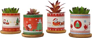 winemana Plant Pots,3 Inch Christmas Pattern Ceramic Planters for Indoor Planting, Christmas Decorations, Set of 4