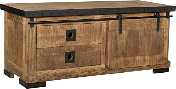 Great Deal Furniture Mavis Modern Industrial Mango Wood TV Stand Natural Finish And Black