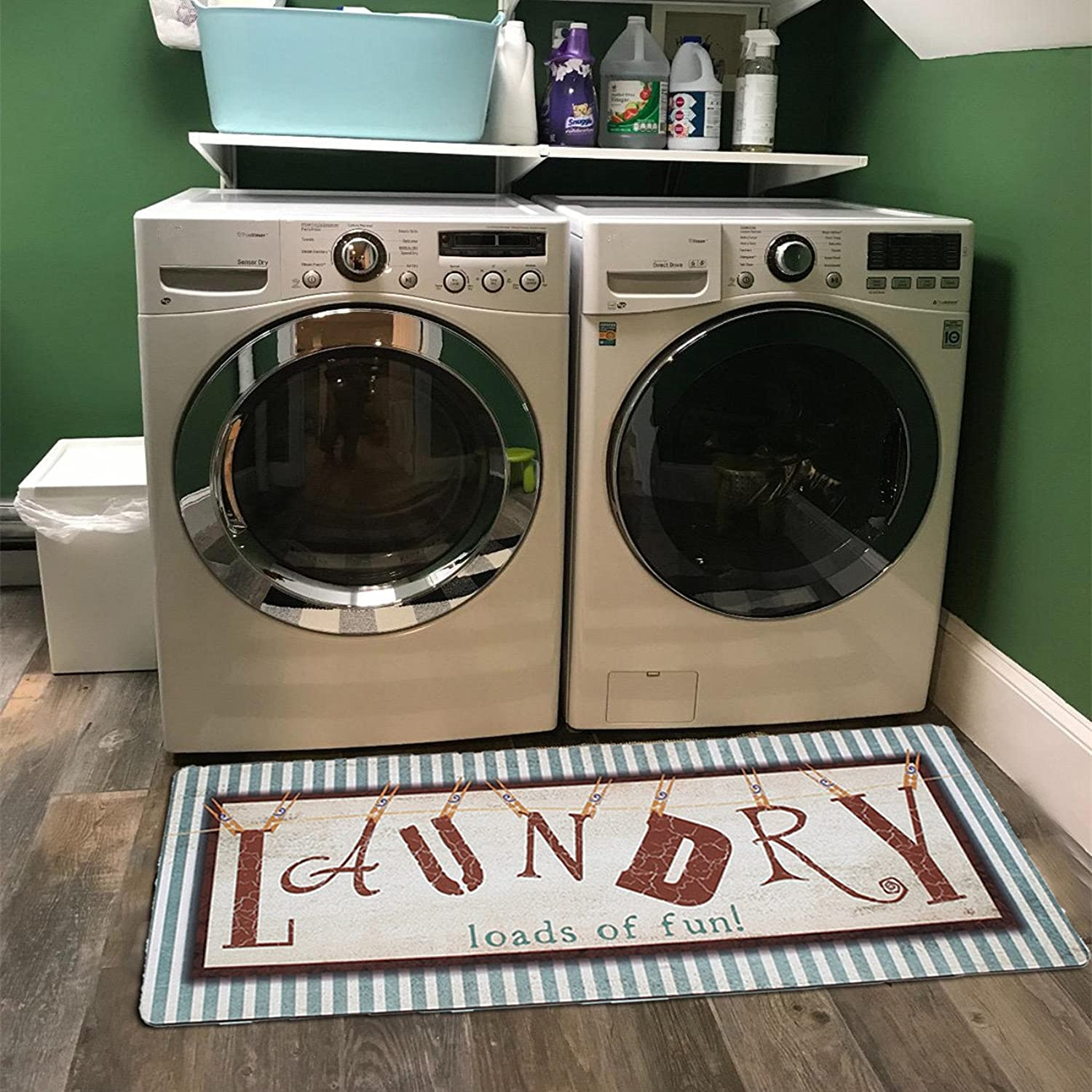 Ukeler Laundry Rug, Non Skid Laundry Room Wash House Mat Waterproof Floor Runners for Bath Room 2x4