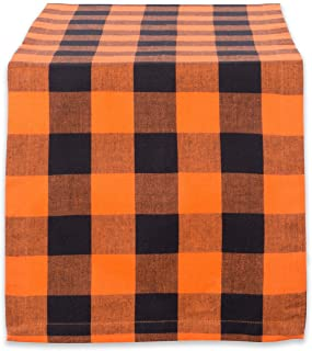 "DII Cotton Buffalo Check Table Runner for Family Dinners or Gatherings, Indoor or Outdoor Parties, Halloween, & Everyday Use (14x108"", Seats 8-10 People), Orange & Black"