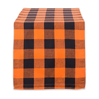 DII Classic Buffalo Check Tabletop Collection for Family Dinners, Special Occasions, Barbeques, Picnics and Everyday Use, 100% Cotton, Machine Washable, Table Runner, 14x72, Orange & Black