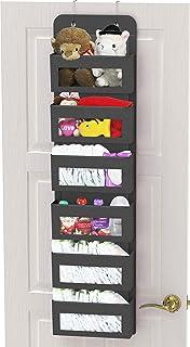 SimpleHouseware Baby Over The Door Hanging Organizer Storage, Dark Grey, 6 Clear Window Pocket