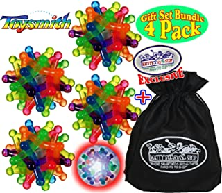 Toysmith Light-Up Flashing Neutron Balls Gift Set Party Bundle with Exclusive Matty's Toy Stop Storage Bag - 4 Pack