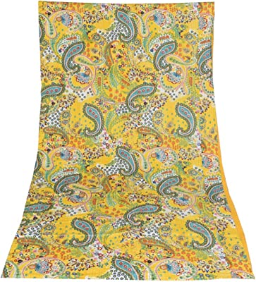 Indian Vintage Quilt Kantha Floral Bedspread Cotton Blanket Ralli Gudari