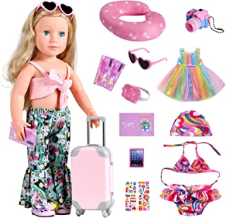 Bernito 18 Inch Doll Accessories, Travel Gear Play Set Including Suitcase Luggage, Clothes, Swimsuit, Dress, Sunglasses, C...