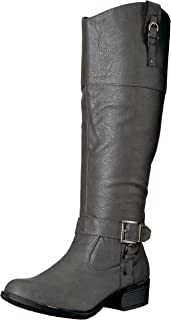 Rampage Women's Ivelia Fashion Knee High Casual Riding Boot, Grey Wide Calf, 10 M US